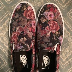 NEVER WORN Vans floral women's slip-on